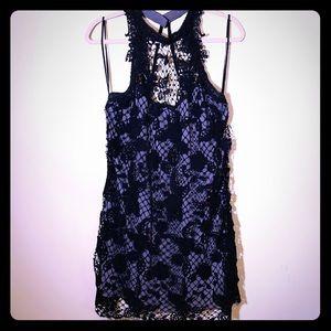 FREE PEOPLE Black Lace Crochet Mini Dress